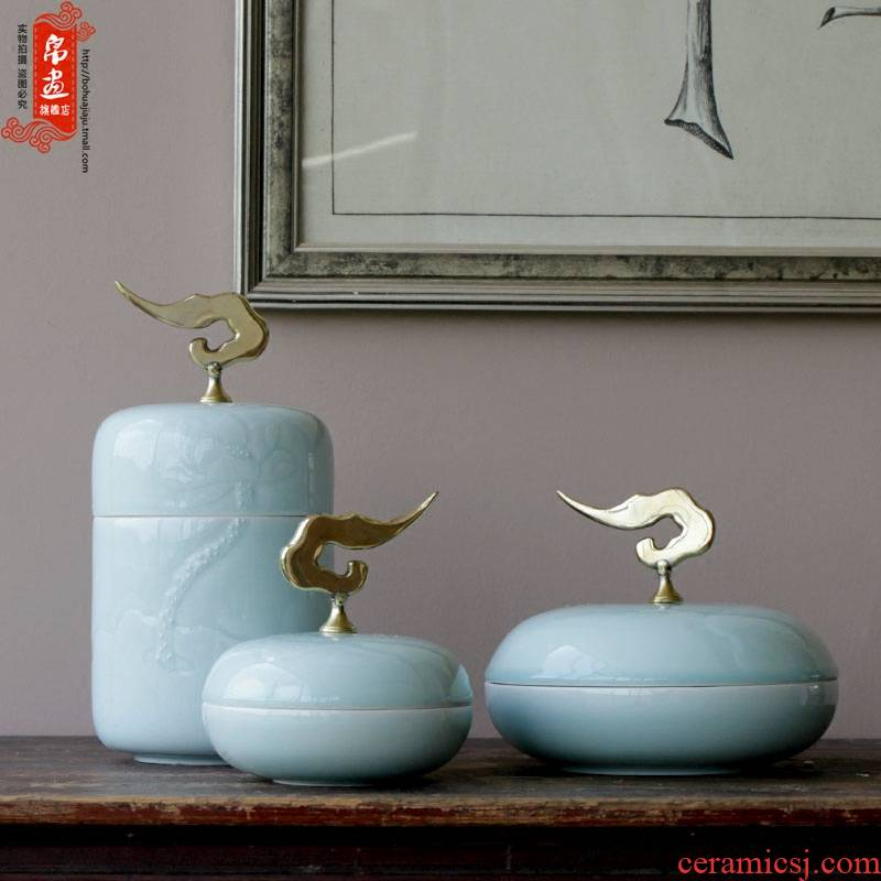 Jingdezhen chinaware lotus hand - carved ceramic pot metal parts of Chinese style household adornment