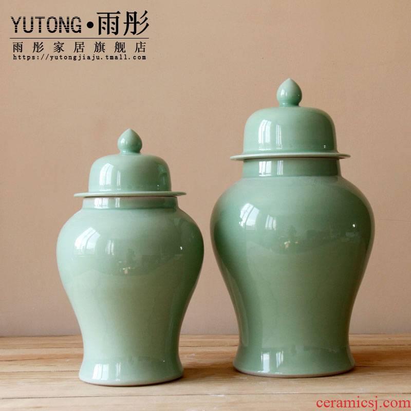 The rain tong home | jingdezhen ceramics craft porcelain single general glaze fresh green ceramic pot furnishing articles to receive