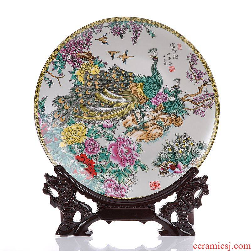 Scene, jingdezhen ceramics peacock decoration as sit hang dish plate modern home handicraft furnishing articles