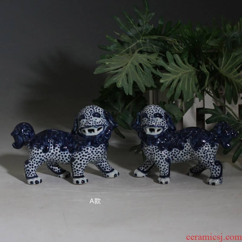 The lion art ornament porcelain its furnishing articles furnishing articles of blue and white porcelain lion lion