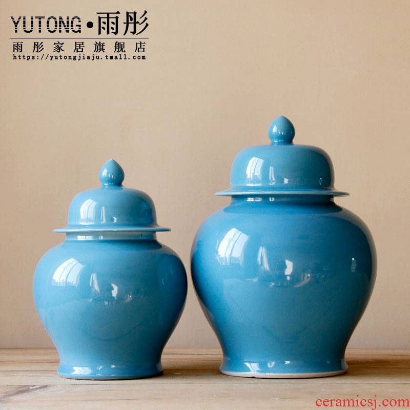 Rain tong home | home furnishing articles furnishing articles of jingdezhen ceramic blue beauty contracted atmospheric storage tank of pottery and porcelain