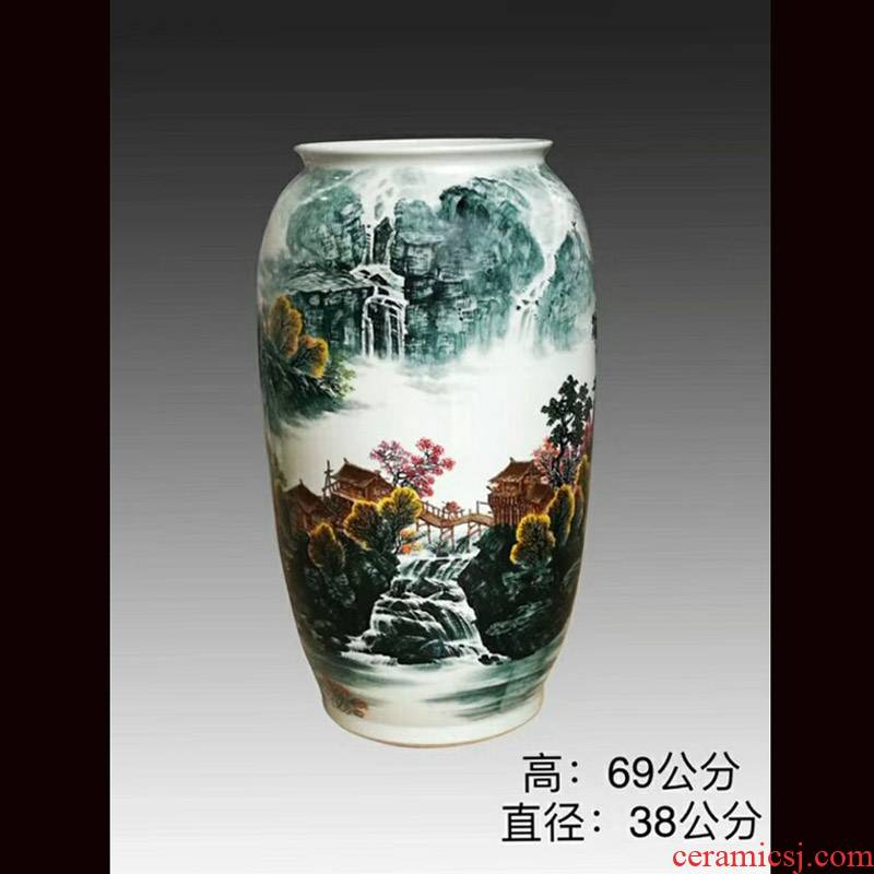 Jingdezhen 69 cm high hand - made scenery idea gourd without cover porcelain jar of barrel m as cans ceramic decorative furnishing articles