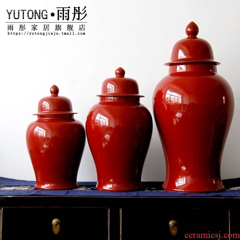 Jingdezhen ceramic manual paste red porcelain pot storage tank decoration business hall study example room soft furnishing articles