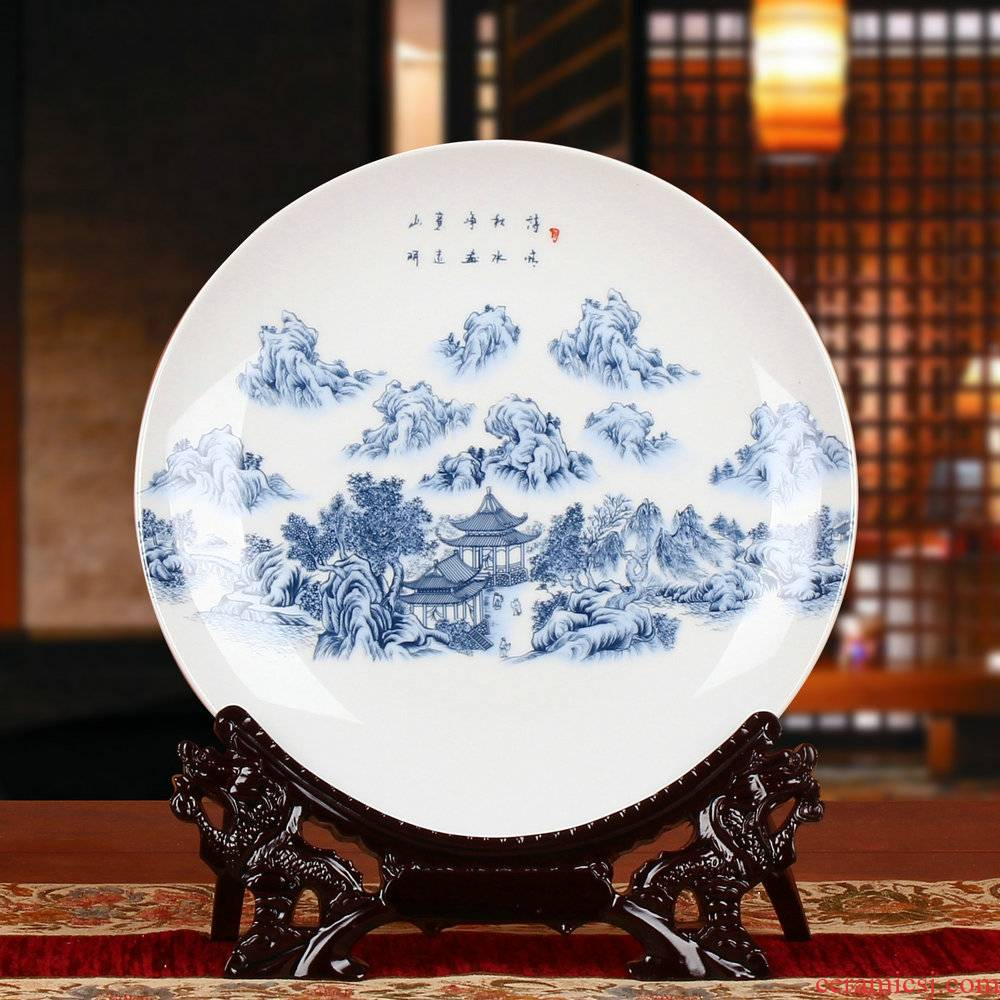 Blue and white porcelain of jingdezhen ceramics and decorative plate faceplate hang dish of modern home decoration furnishing articles