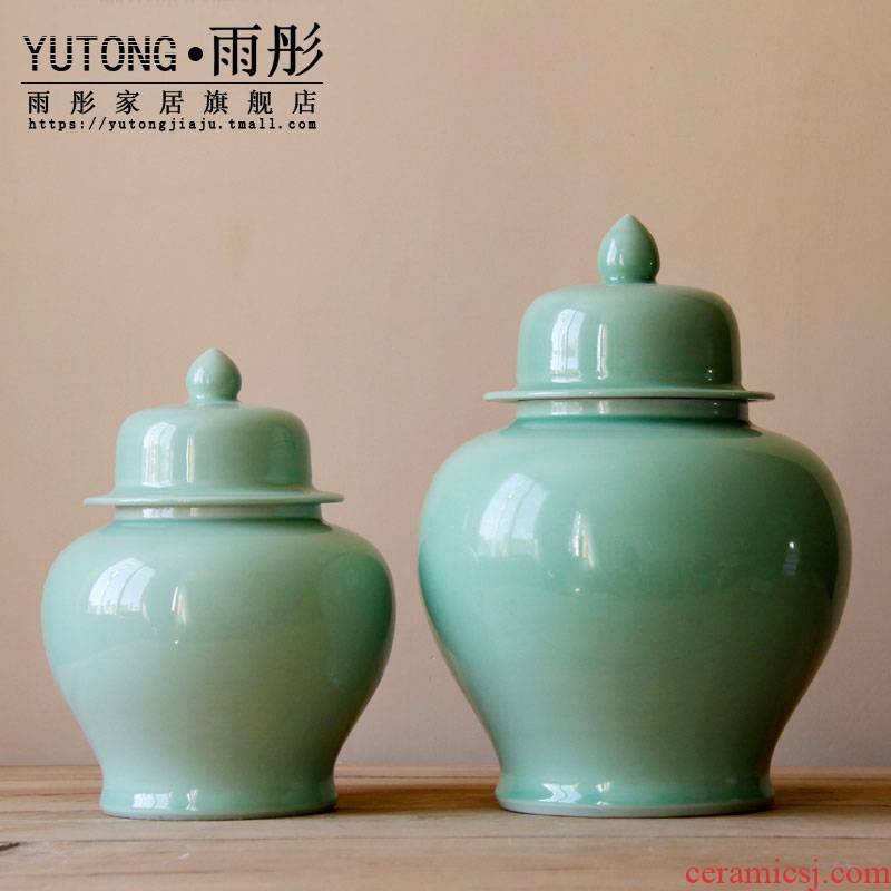 Jingdezhen ceramics by hand shadow blue glaze with cover storage tank example room soft outfit ceramic pot to decorate the study hall