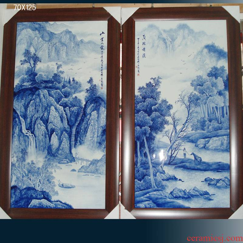 Jingdezhen hand - made scenery single porcelain plate painting landscape painting of flowers and a single pair of blue and white porcelain plate painting porcelain wall hanging