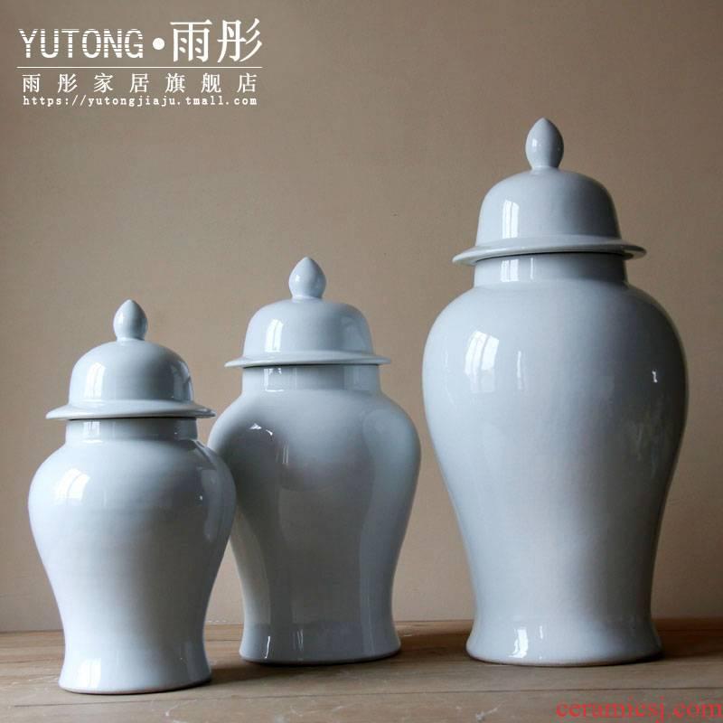 Jingdezhen ceramic general single glaze hand white tank contracted modern furnishing articles storage tank ceramic decoration