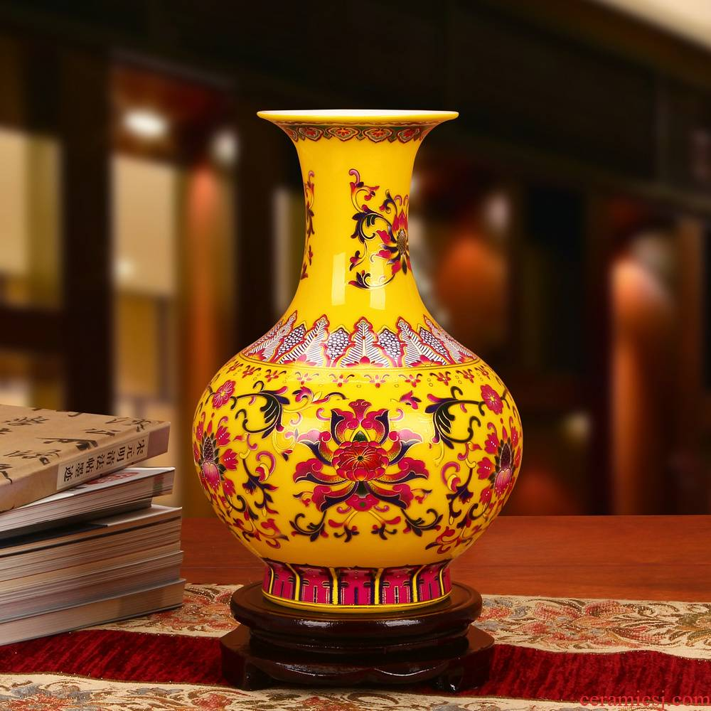 Jingdezhen ceramics glaze crystal f climbing flower palace Huang Fu climbing flower vases, Chinese style decoration collection furnishing articles
