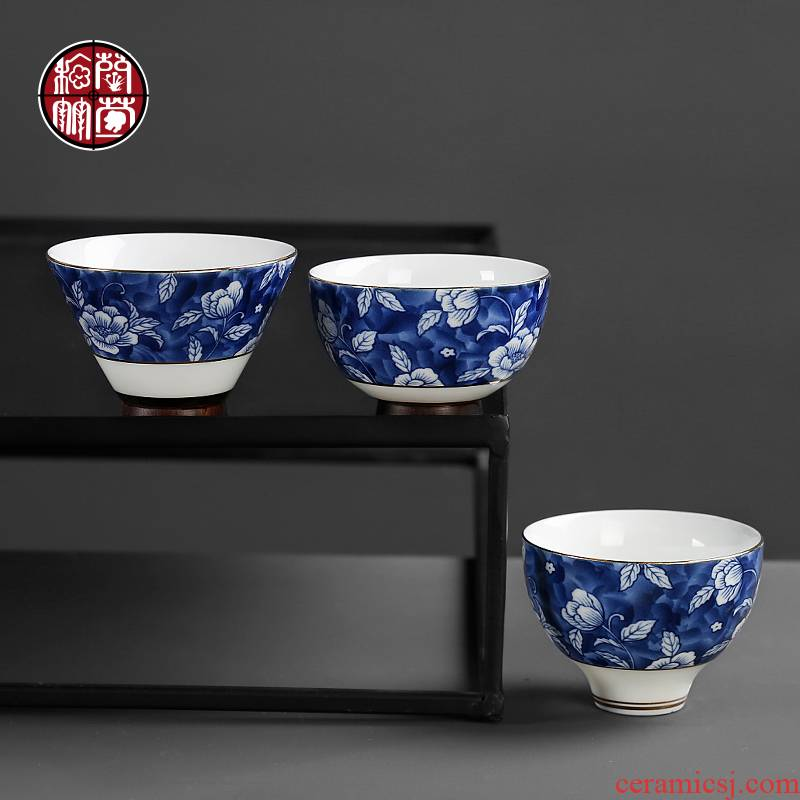 Blue hat cup single only tea cup move retro household tea kongfu master cup single CPU ceramic cups
