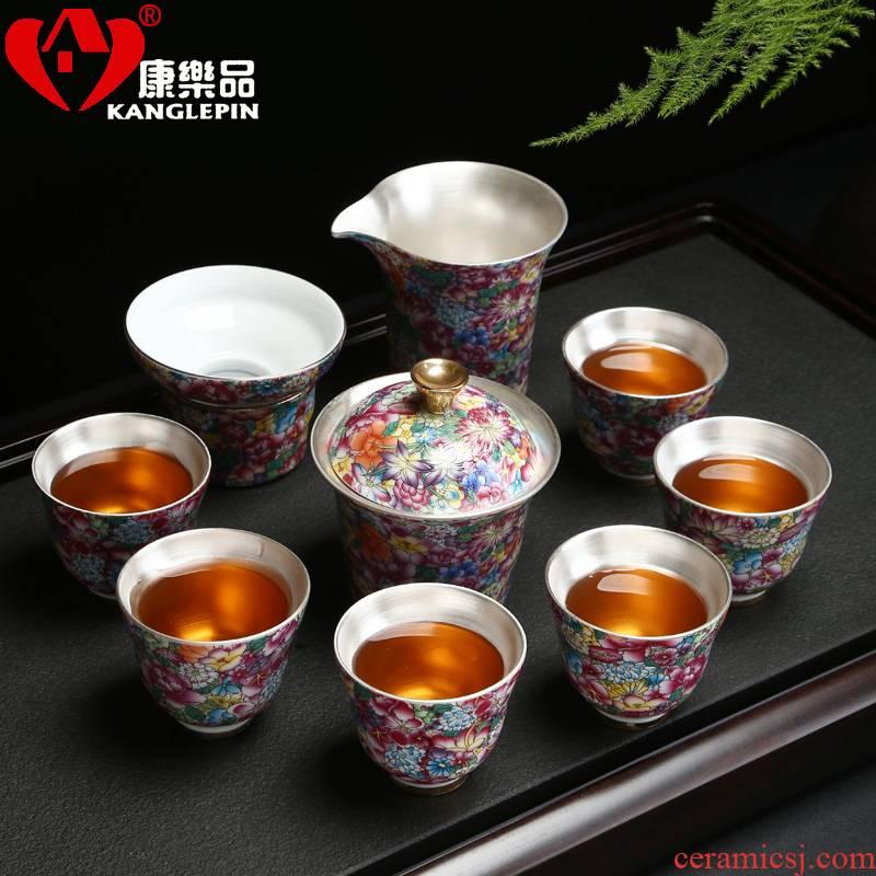 Recreational product ceramic 999 kunfu tea tasted silver tea set silver gilding manual bladder silver sample tea cup home
