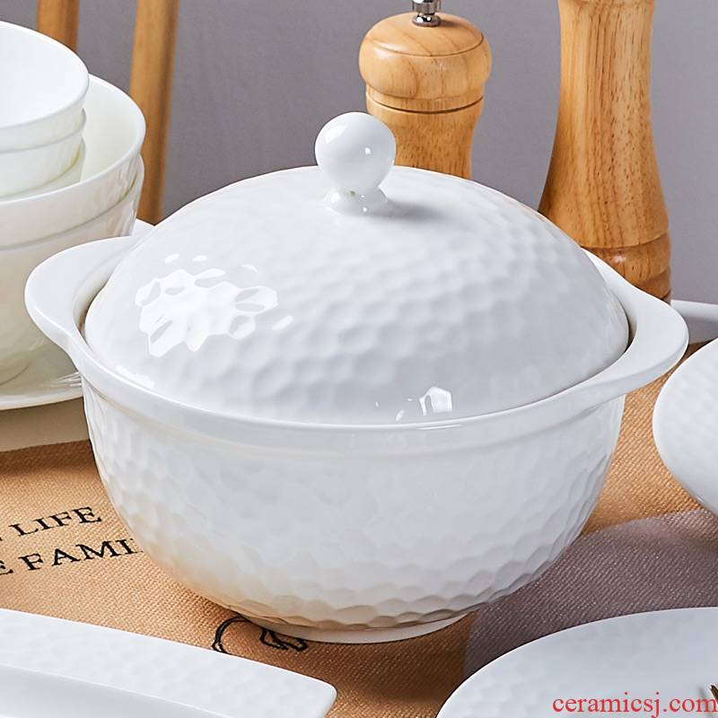 Jingdezhen ceramic tableware with cover Chinese soup bowl creative home a large pot of household ceramic bowl with cover soup pot