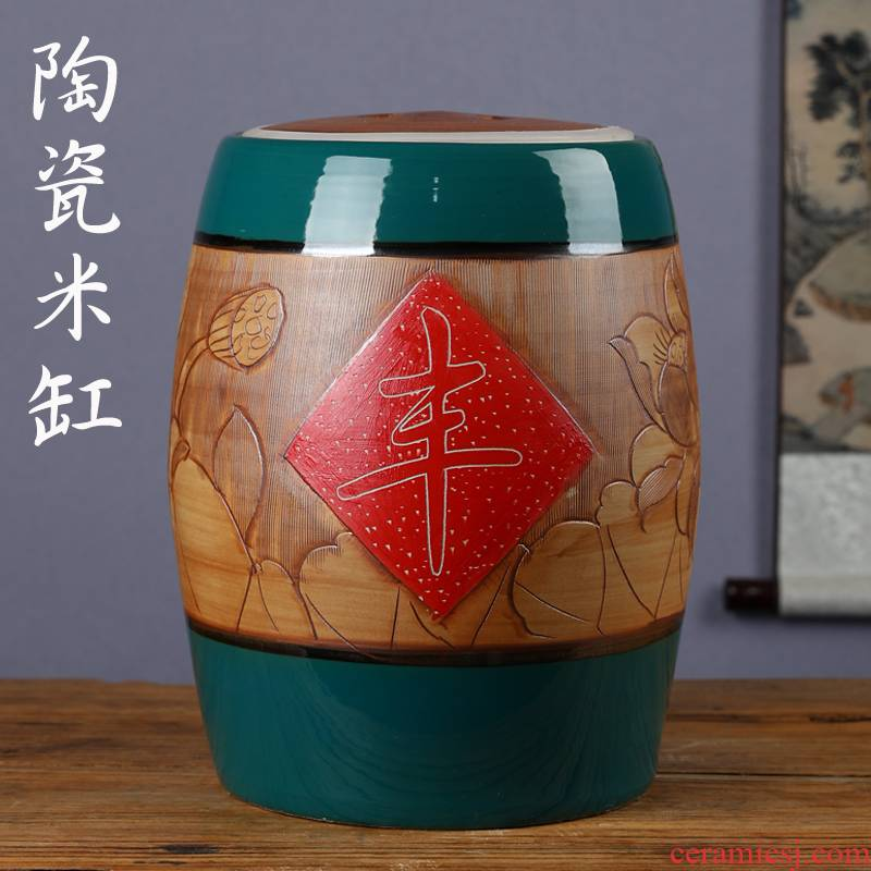 Jingdezhen ceramic barrel household with cover cylinder seal storage bins ricer box flour barrels sealed as cans of restoring ancient ways
