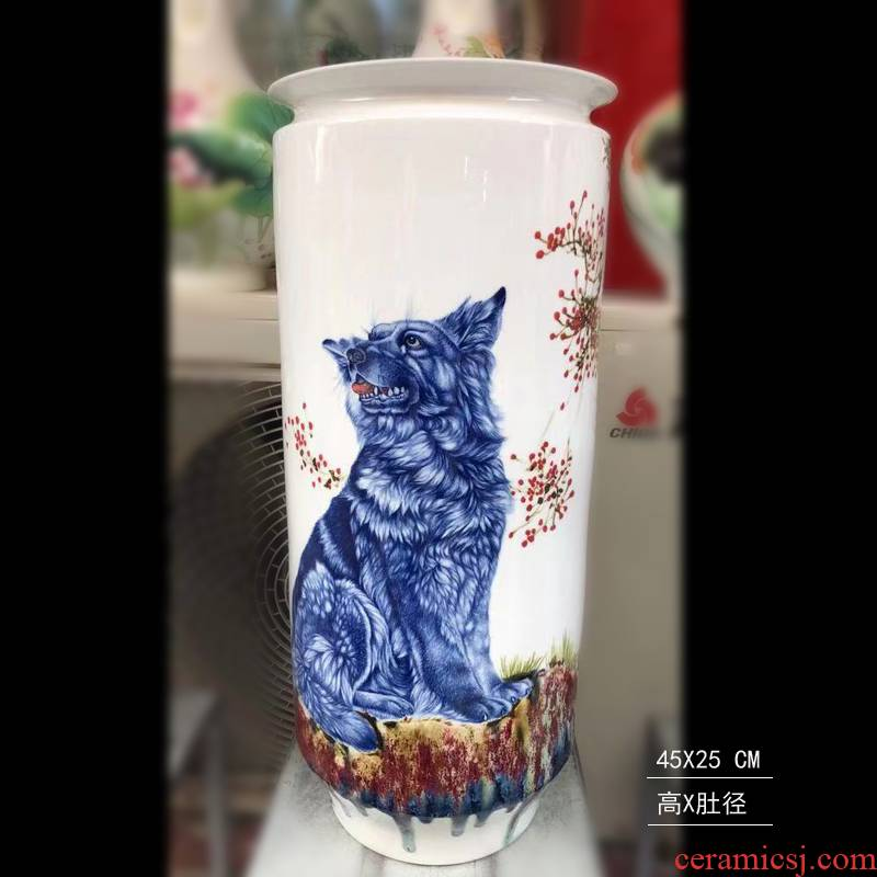 Jingdezhen big chicken figure auspicious fine porcelain vase hand - made porcelain vase hounds vase vase lion