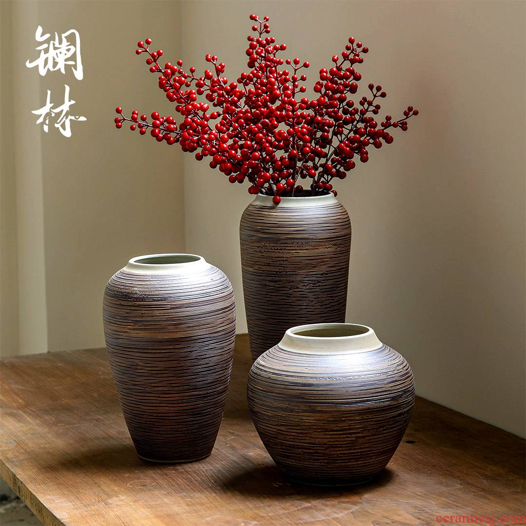 Ceramic vases, new Chinese style restoring ancient ways furnishing articles flower arrangement sitting room decorate pottery basin of zen I and contracted flower implement more meat