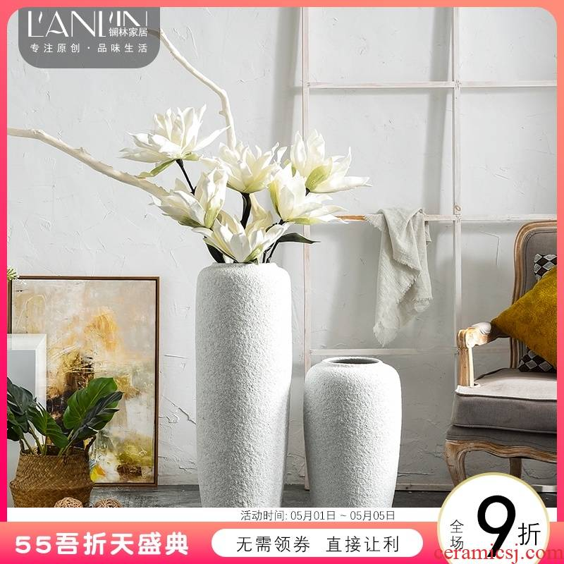 Ground vases, flower arrangement sitting room adornment I and contracted white creative home vase Nordic furnishing articles pottery restoring ancient ways