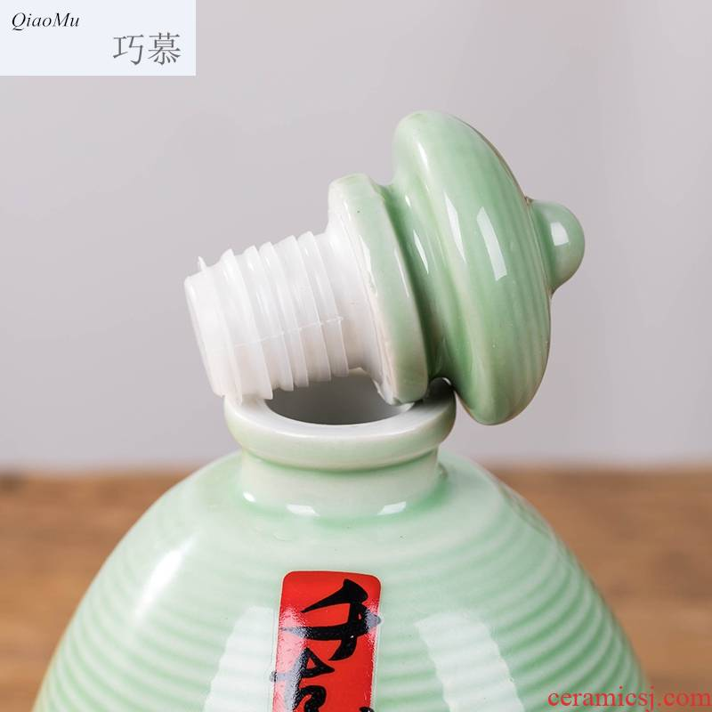 Qiao mu bottle ceramic 1 catty 5 jins of archaize home seal liquor empty bottle wine creative wine little wine