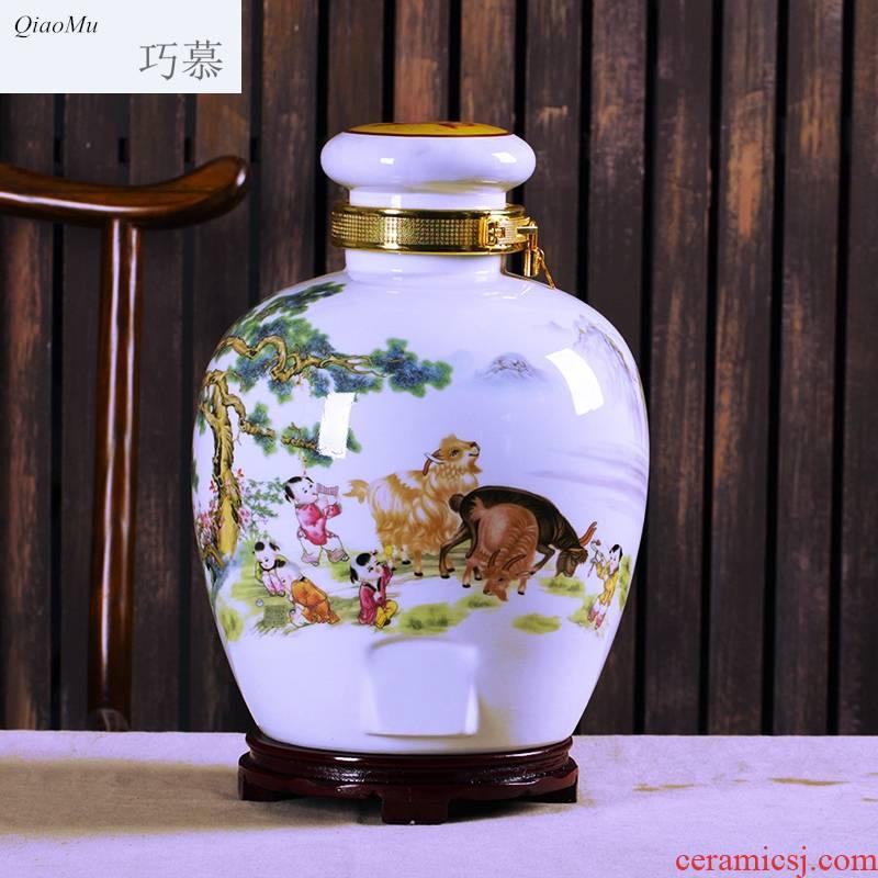 Qiao mu jingdezhen household archaize 10 jins 20 jins to ancient bottle ceramic jars liquor jar jar of wine