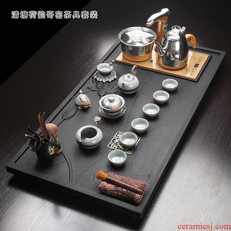 Longed for a whole piece of large - sized sharply opportunely stone tea tray automatic violet arenaceous household kung fu tea set a complete set of tea
