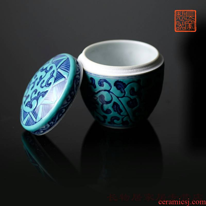 Long up controller offered home - cooked hoard of green space in blue and white tie up branch lianxiang box of Chinese jingdezhen ceramic password caddy fixings