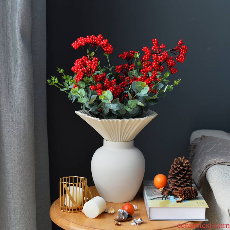 Nordic creative ceramic vases, flower arrangement sitting room mesa, dried flower flower, white drawing I and contracted household furnishing articles