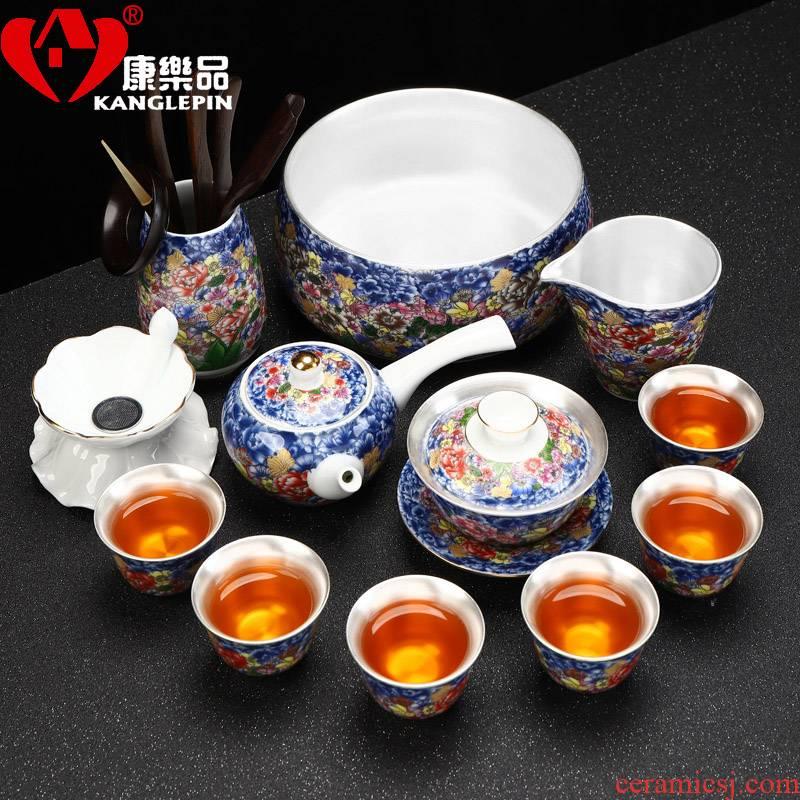 Recreational product ceramic flower splendid colored enamel coppering. As sterling silver 999 kung fu tea set home office tea set