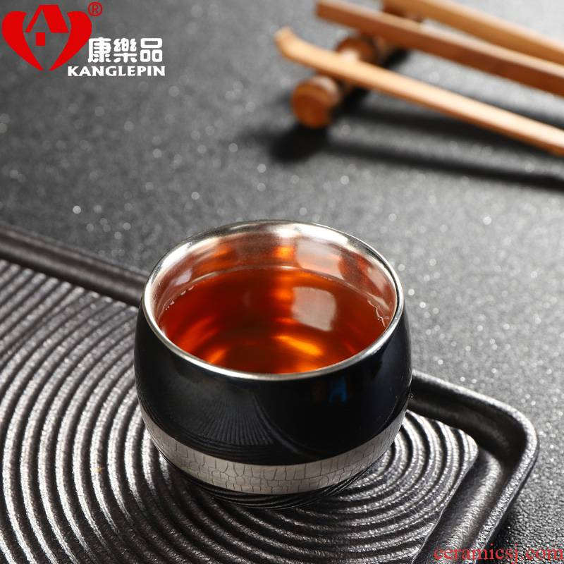 Recreational product silver cup 999 cracked sycee kung fu tea cups ceramic craft master cup single cup tea sample tea cup