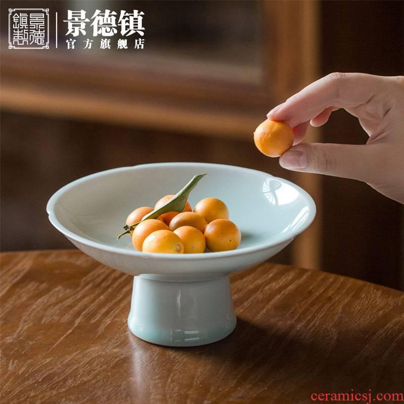 Jingdezhen ceramic Chinese official flagship store high tea dish of fruit cake dish green sweet Bai Pan furnishing articles we knew