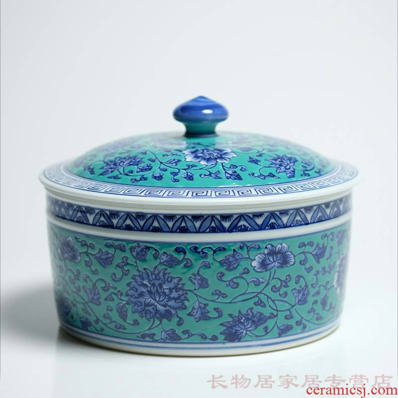 Long up controller offered home - cooked hoard of green space in blue and white tie up branches cover jingdezhen Chinese ceramic tea pot peony grains
