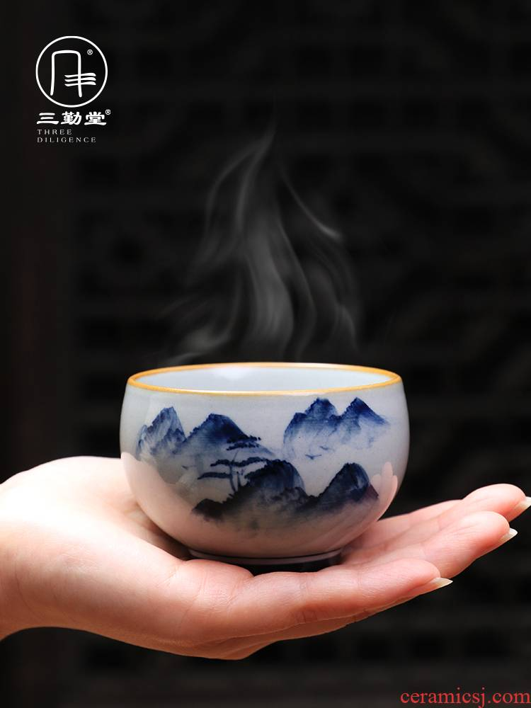 Three frequently hall sample tea cup jingdezhen ceramic cups kung fu tea master cup single cups of blue and white landscape pu - erh tea cup