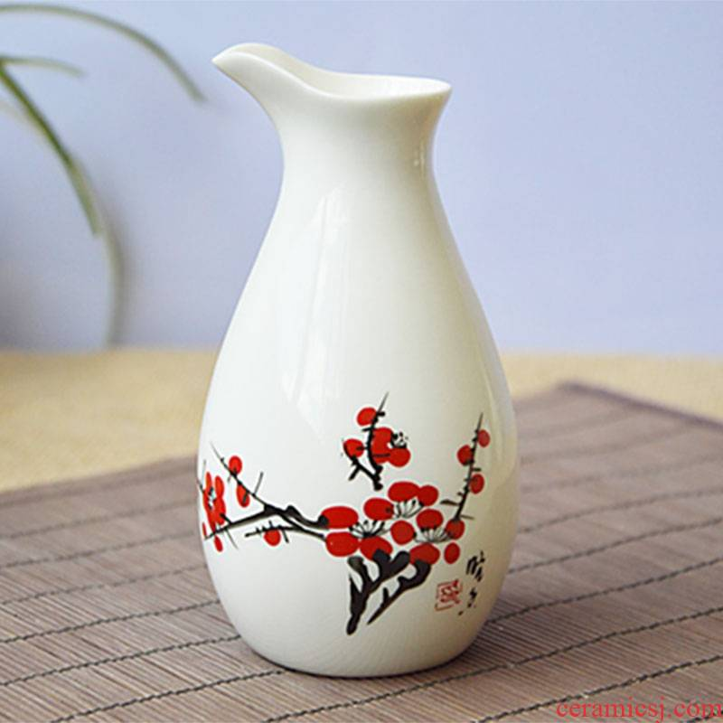 Qiao mu creative ceramic wine restoring ancient ways suit white porcelain jar of Japanese the qing hip flask 1 catty installed household white wine