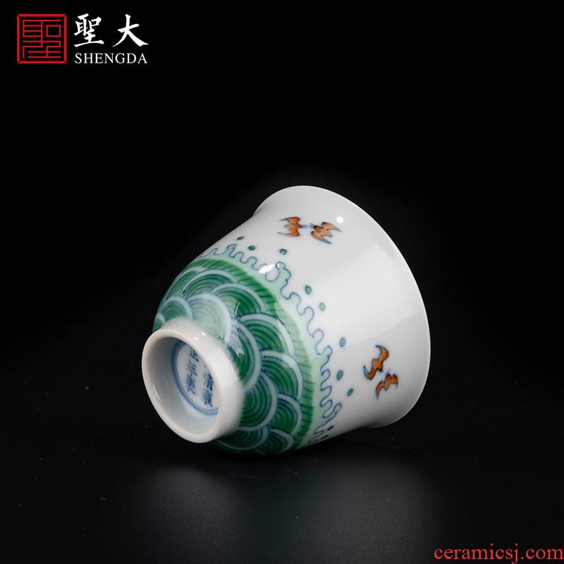 Holy big porcelain jingdezhen blue and white color bucket airdropping yongzheng grain bell cup high - grade tea service manual kung fu tea cups