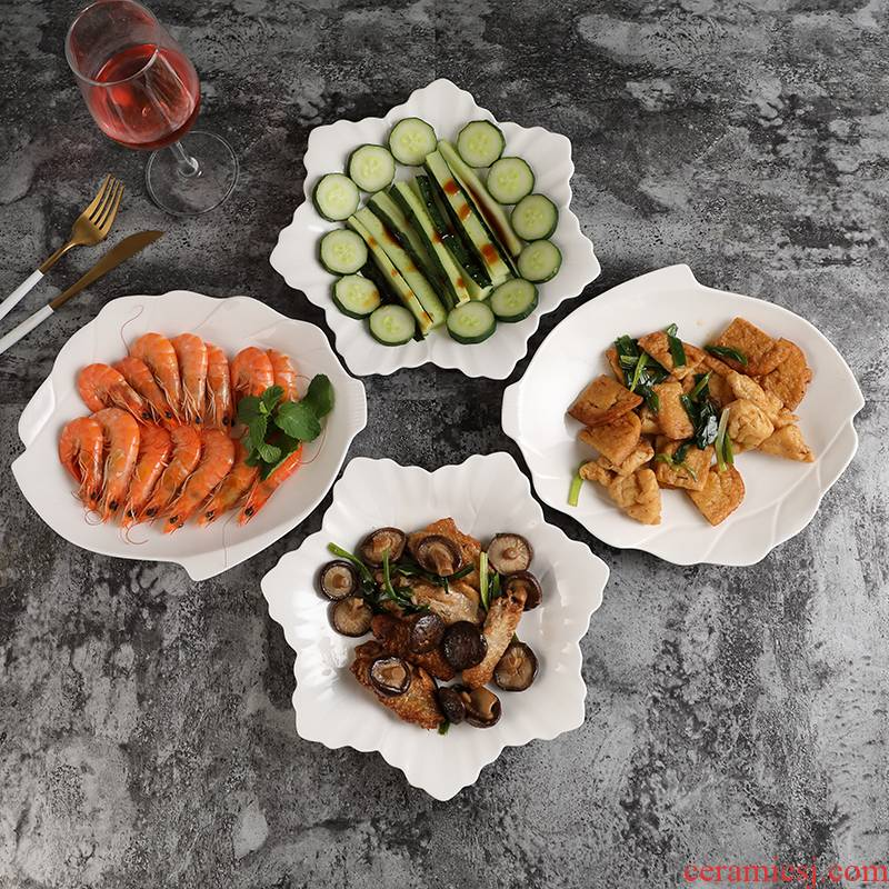 Household food dish ceramic white plate microwave oven plate hot and cold dish soup plate of fruit breakfast tray package mail