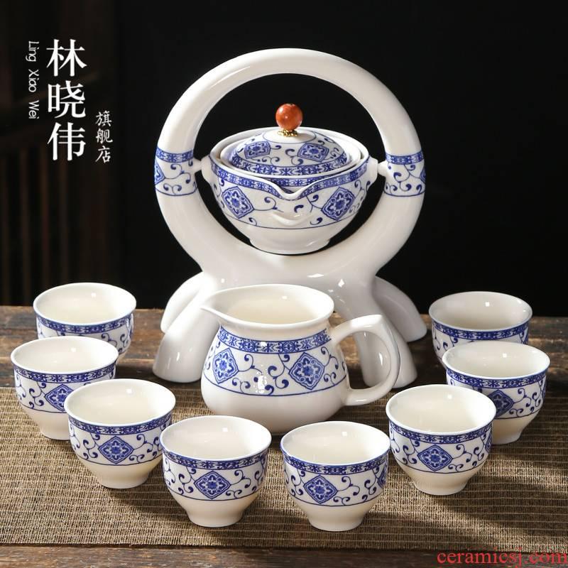 Lazy tea set office receive a visitor the creative automatic flush against the hot ceramic teapot kung fu tea, home