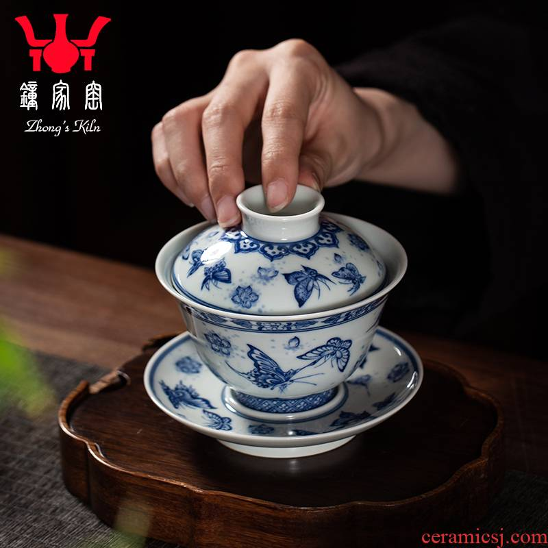 Three to clock home up tureen tureen jingdezhen porcelain ceramic cups butterfly high - end tea tureen large cups