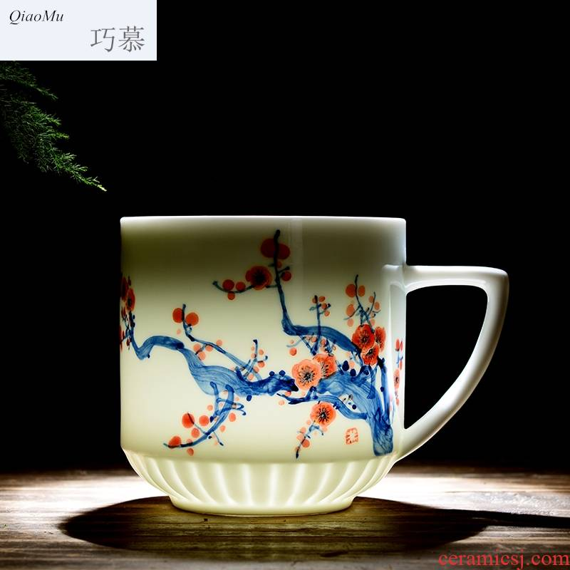Qiao mu jingdezhen ceramic cups with cover household glair office gift fuwa glass tea cup blue and white tea