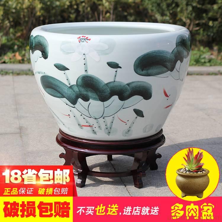Large flowers mini ceramics tank landscape furnishing articles VAT tap water bowl lotus water fish