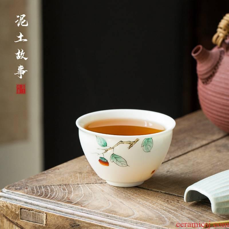 White porcelain pure hand - made master kung fu tea tea cup cup single cup sample tea cup a single large tea bowl of ceramics