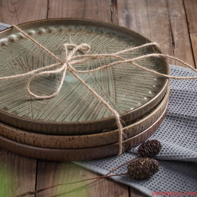 Jingdezhen household utensils, Korean creative compote microwave liangpi dish circular tray steak tea