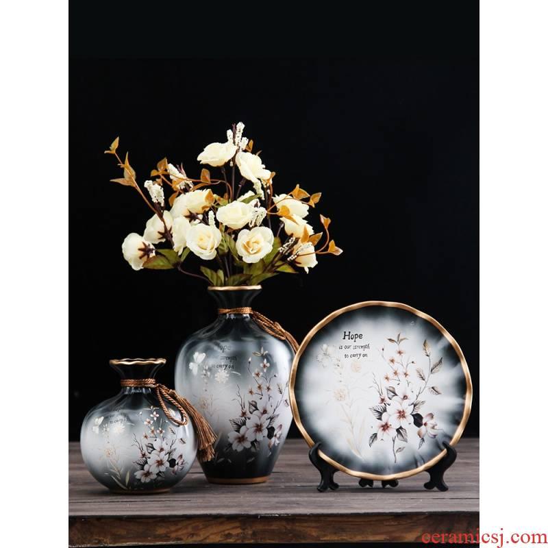 New Chinese style ceramic plug-in rockery flowerpot vase dry flower zen furnishing articles originality example room