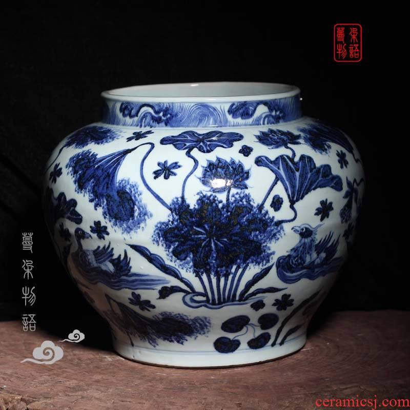 Jingdezhen hand - made generic POTS lotus yuanyang fish yuan blue and white porcelain vase peony design and color large pot of yuan dynasty