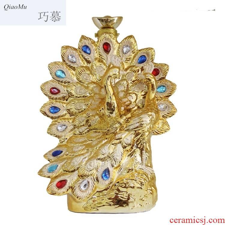 Qiao mu jingdezhen ceramic seal terms bottle gilded peacock train 3 3 jin jin decoration craft liquor