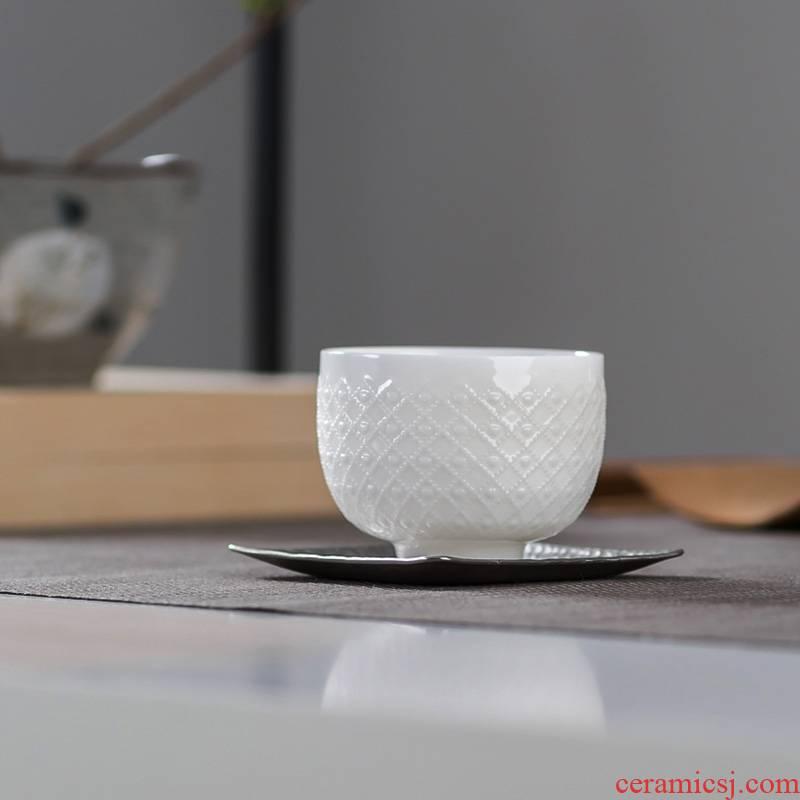 Qiao mu dehua white porcelain tea set jade porcelain ceramic decorative pattern stereo embossed cups single CPU master CPU