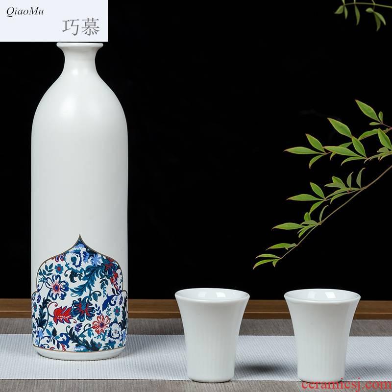 Qiao mu jingdezhen creative household small wine pot liquor bottle glass wine bottle sealed ceramic mailed to pack a kilo