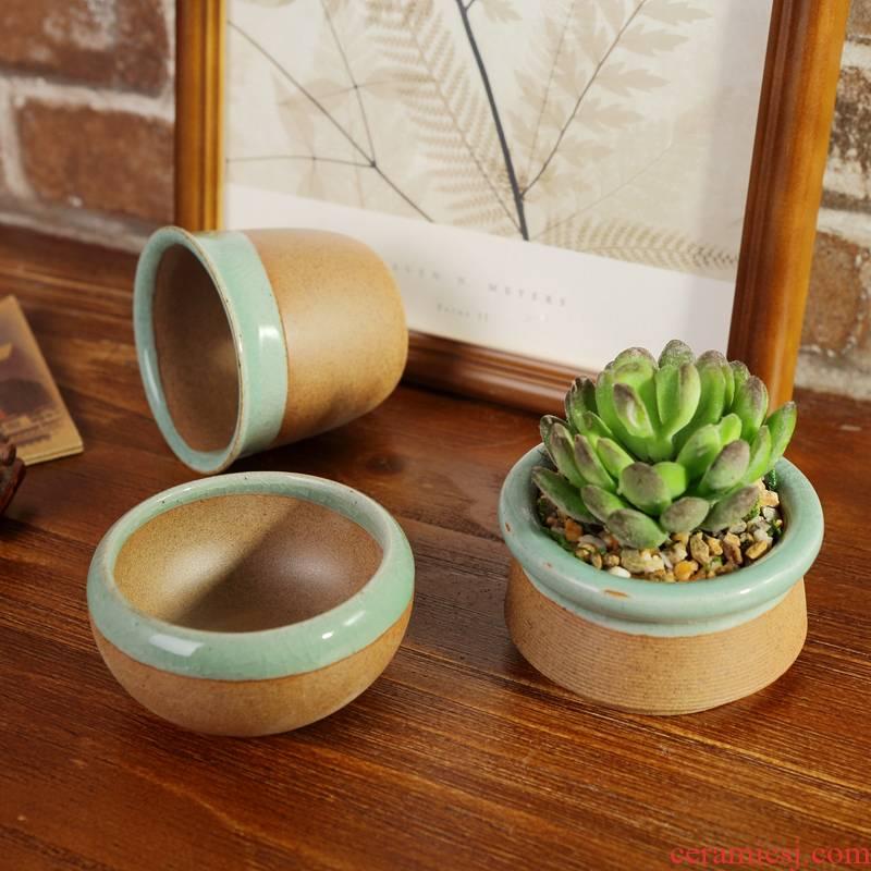 Thumb pot factory fleshy flower POTS of jingdezhen ceramic small fleshy plant pot color flower pot of borneol