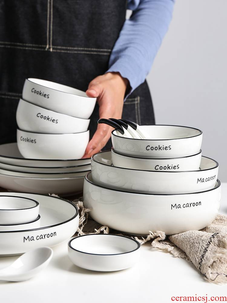 Contracted one northern wind food home by 2 (ceramic dishes and cutlery set rice bowl dish soup bowl spoon