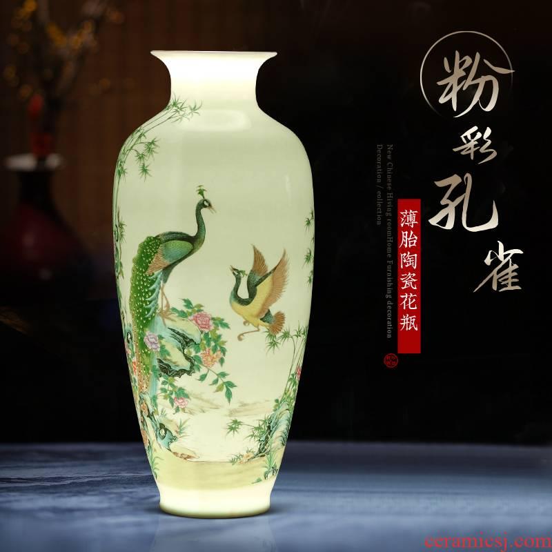 Jingdezhen ceramic powder enamel vase furnishing articles of the new Chinese style household, sitting room porch wine TV ark, flower decorations
