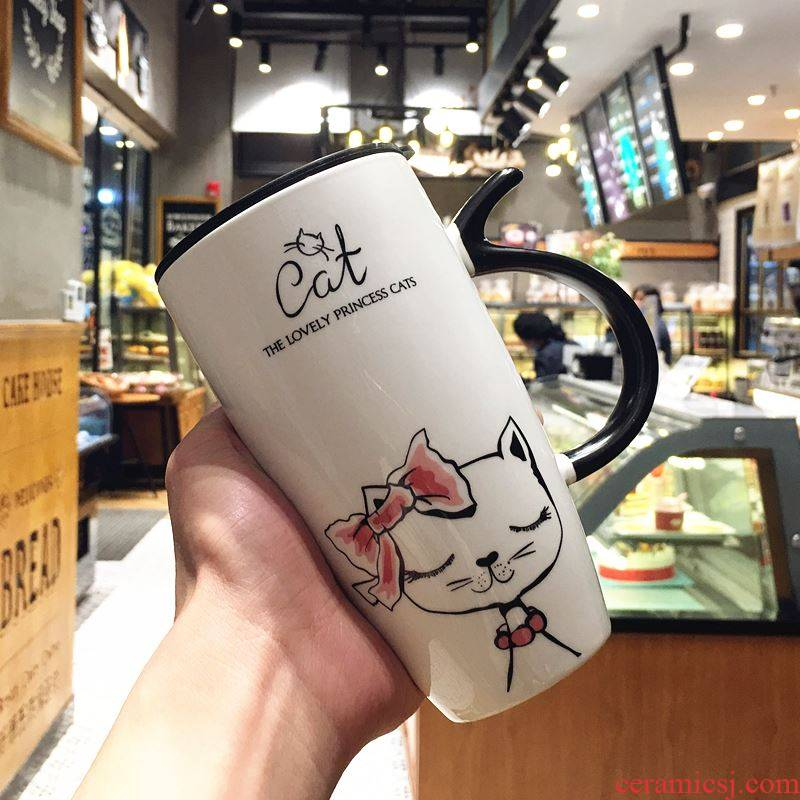 The Cat is lovely water glass ceramic keller office individuality creative picking milk coffee cup with cover the spoon