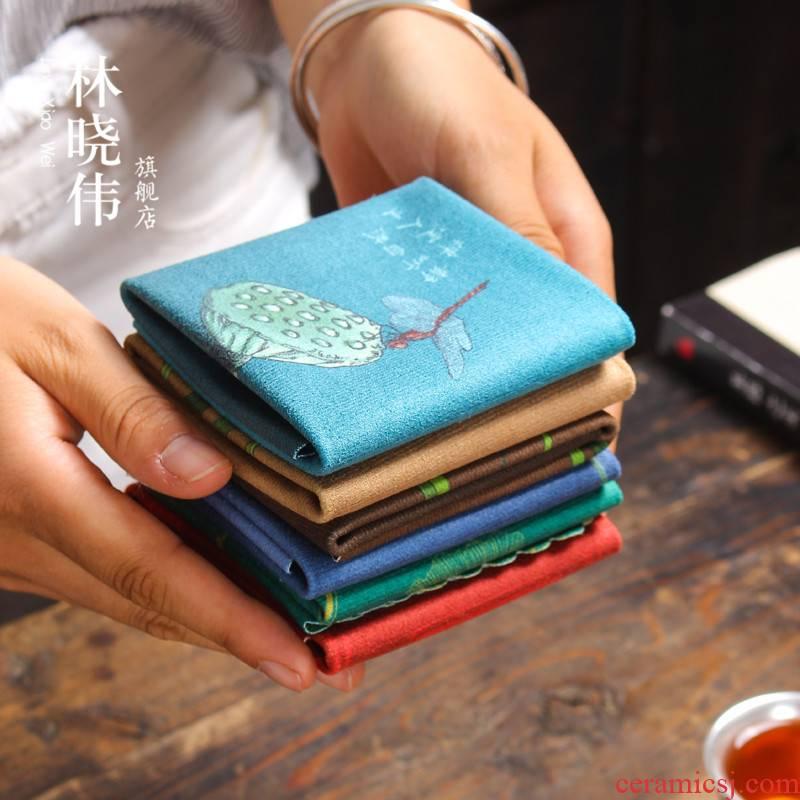 High - grade a pot of tea tea towel wipes bibulous kunfu tea towel cloth Chinese violet arenaceous zen Chinese tea towels printed tea towel