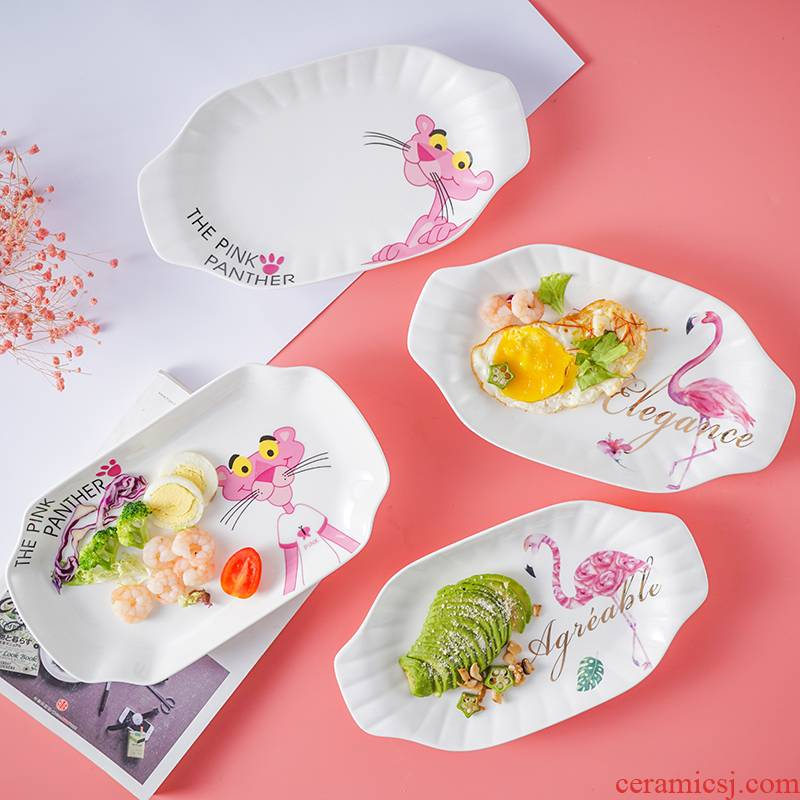 Web celebrity Nordic pink panther ceramic large rectangular fish dishes steamed fish grilled fish dish plate microwave tableware