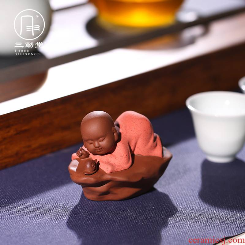 Three frequently hall of violet arenaceous the little novice monk tea pet furnishing articles tong qu monk kung fu tea accessories play S06031 tea tea